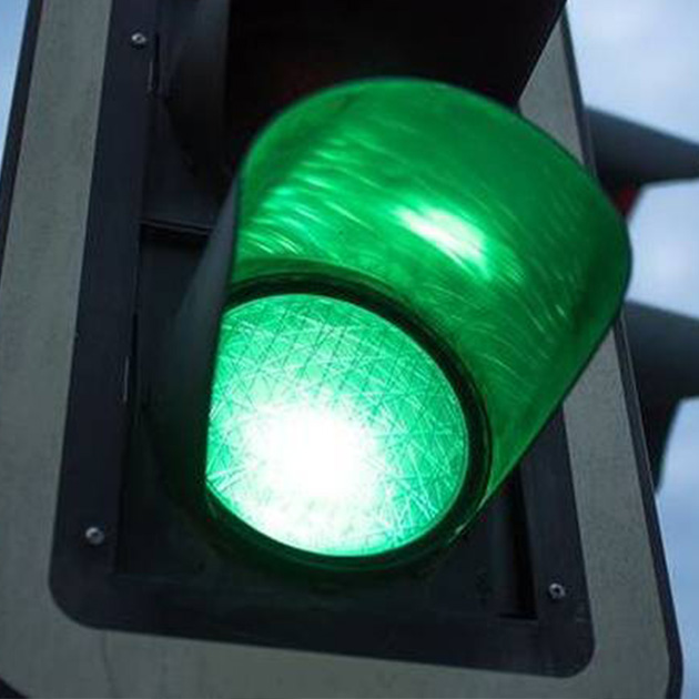 Image of a green light on a traffic light