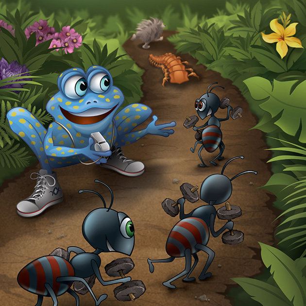 Cartoon image of frog and ants